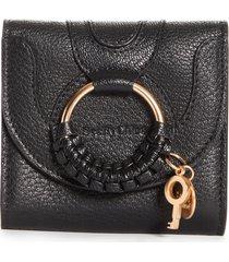 women's see by chloe hana leather billfold wallet - black