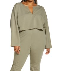 open edit split neck stretch cotton crop sweatshirt, size 3x in green vetiver at nordstrom