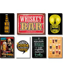 kit placas decorativas bebidas frases vintage mdf - 7 placas - preto - dafiti