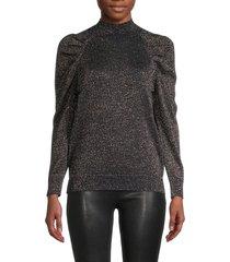 joie women's artima puff-sleeve shimmer sweater - midnight - size xs