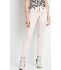 maurices womens high rise light pink double button jegging made with repreve