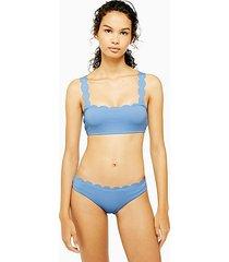 blue scallop classic bikini bottoms - blue