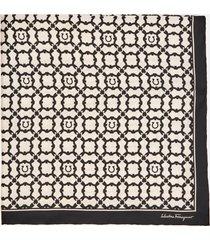 salvatore ferragamo women's gancini galore silk scarf - bone/black