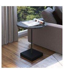 mesa lateral redonda artesano 45cm estrutura aço carbono marquina/preto