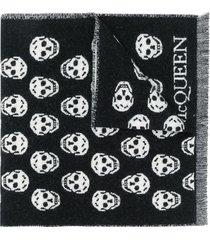 alexander mcqueen skull intarsia-knit scarf - black