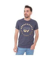 camiseta aeropostale masculina graphic circle 87 azul marinho mescla