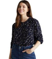 blusa escote redondo azul marino esprit