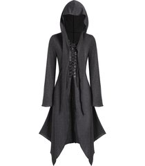 hooded lace-up front heathered handkerchief skirted gothic coat