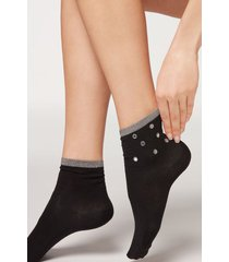 calzedonia appliqué ankle socks woman black size tu