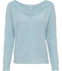 maglione con pizzo sullo scollo (blu) - bodyflirt