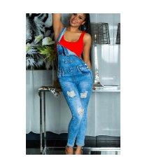 sexy skinny jeans tuinbroek gebruikte used look blauw