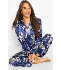 satijnen tijgerprint pyjama set met knopen en broek, marineblauw
