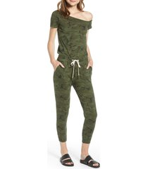 women's n:philanthropy britton one-shoulder crop jumpsuit, size x-small - green