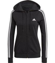 huvtröja essentials french terry 3-stripes full-zip hoodie
