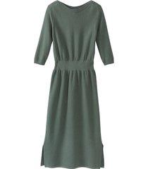 gebreide jurk van bio-katoen met boothals, zeegras 34