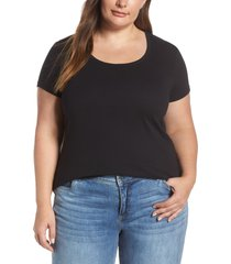 plus size women's caslon short sleeve scoop neck tee, size 3x - black