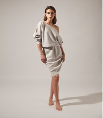 reiss amara - off-the-shoulder knitted dress in grey marl, womens, size xl