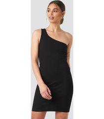 iva nikolina x na-kd one shoulder mini dress - black