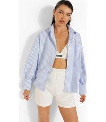 pastel geruite boxy blouse met zoom detail, powder blue