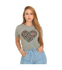 blusa t-shirt camiseta feminina estampada - coração oncinha - cinza