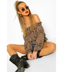 woven shirred leopard off the shoulder top, brown