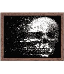 quadro decorativo black skull faded madeira - grande