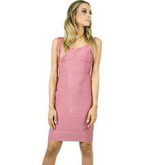 vestido liage curto liso bandagem rosa antigo