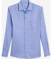 camisa dudalina manga longa fio tinto maquinetado masculina (azul medio, 48)