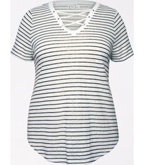 maurices plus size womens 24/7 stripe lace up tee white