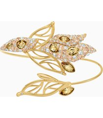 bracciale rigido graceful bloom, marrone, placcato oro