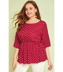 blusa de lunares roja de talla grande