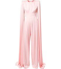 alex perry halston cape-sleeve jumpsuit - pink
