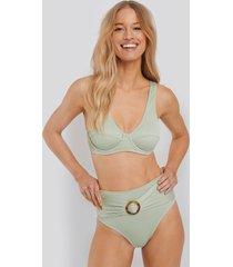 na-kd swimwear ribbed high waist buckle bikini panty - green