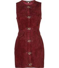 alexa chung suede mini dress - red