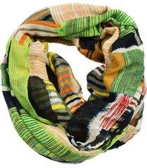echarpe lenço artestore estampa étnica abstrato amarelo/verde
