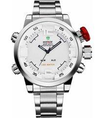 reloj weide wh-2309 blanco pulso acero inoxidable