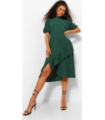 geweven gesmokte jurk met ruches en asymmetrische zoom, green