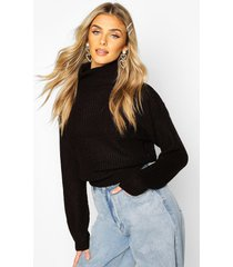 cropped fisherman roll neck sweater, black