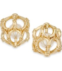 charter club gold-tone white imitation pearl cage stud earrings, created for macy's