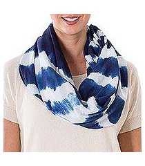 tie-dyed cotton infinity scarf, 'endless indigo' (el salvador)