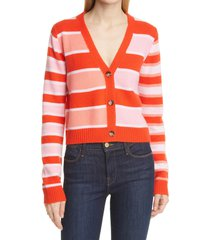women's la ligne stripe cashmere cardigan, size medium - red