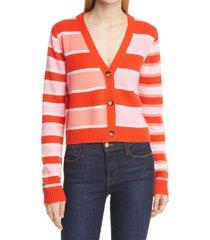 women's la ligne stripe cashmere cardigan, size x-large - red