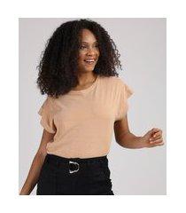 blusa feminina básica com recorte manga curta decote redondo. caramelo