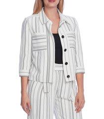 women's vince camuto yarn dye two pocket jacket, size xx-small - white