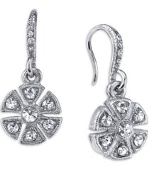 downton abbey crystal art deco flower drop earrings