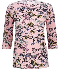 camiseta  manga 3/4 flor color rosado, talla 1xl