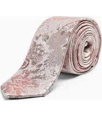 mens pink and blue jacquard floral tie