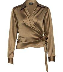 3176 - wrap blouse lange mouwen beige sand