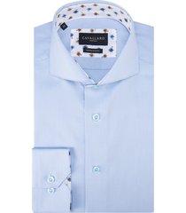 cavallaro slim fit overhemd met lange mouwen licht blauw