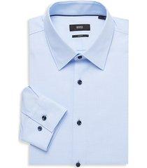 boss hugo boss men's jano regular-fit wool dress shirt - blue - size 17